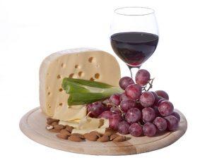 Étel fotó sajt vörös bor pohár szőlő mandula
